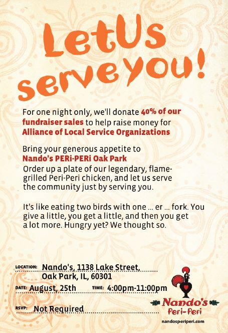 Flyer for ALSO fundraiser at Nando's